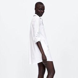 Zara Denim White Long Sleeve Shirt Dress